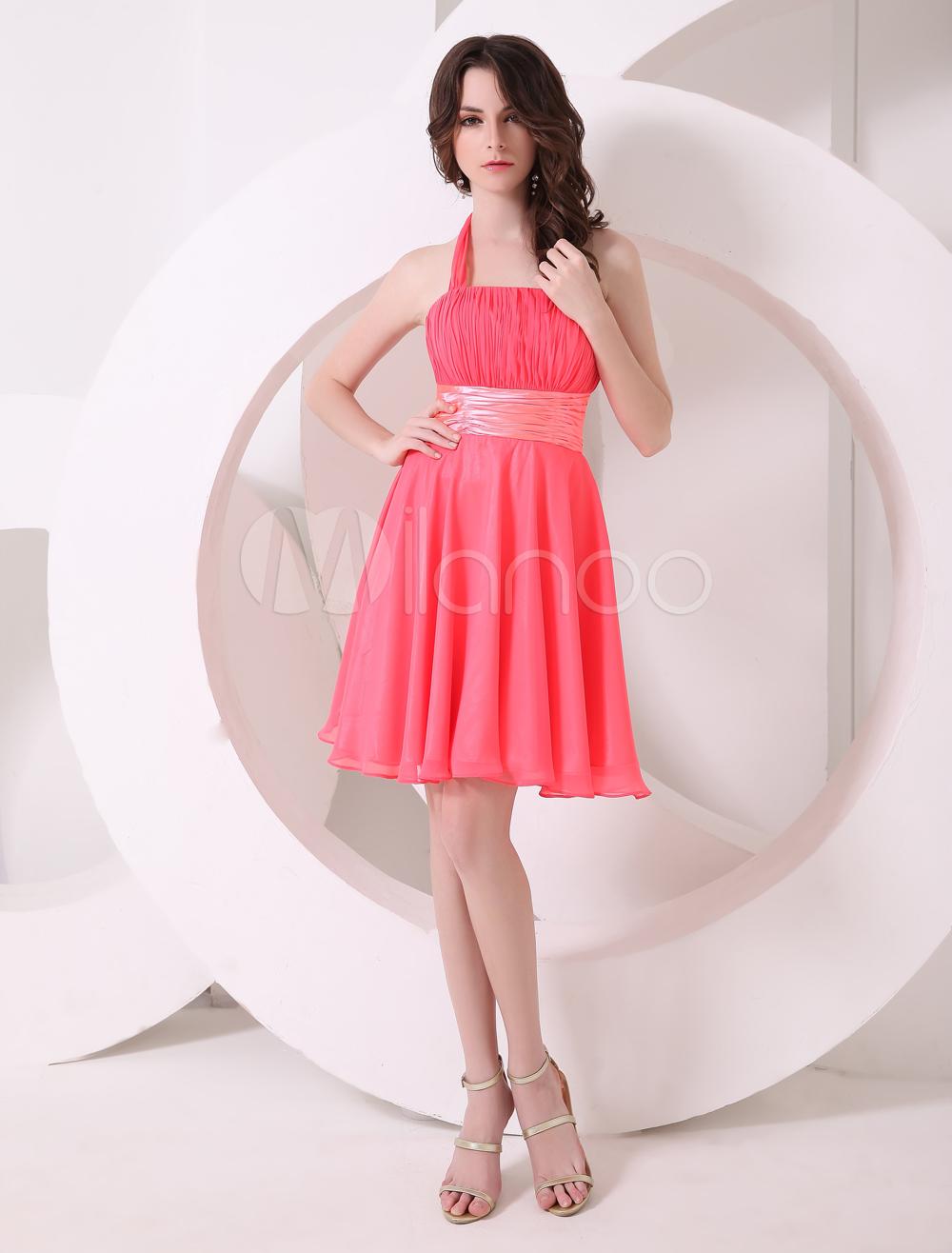 Pretty watermelon a line halter chiffon short bridesmaid dress 32off ombrellifo Images