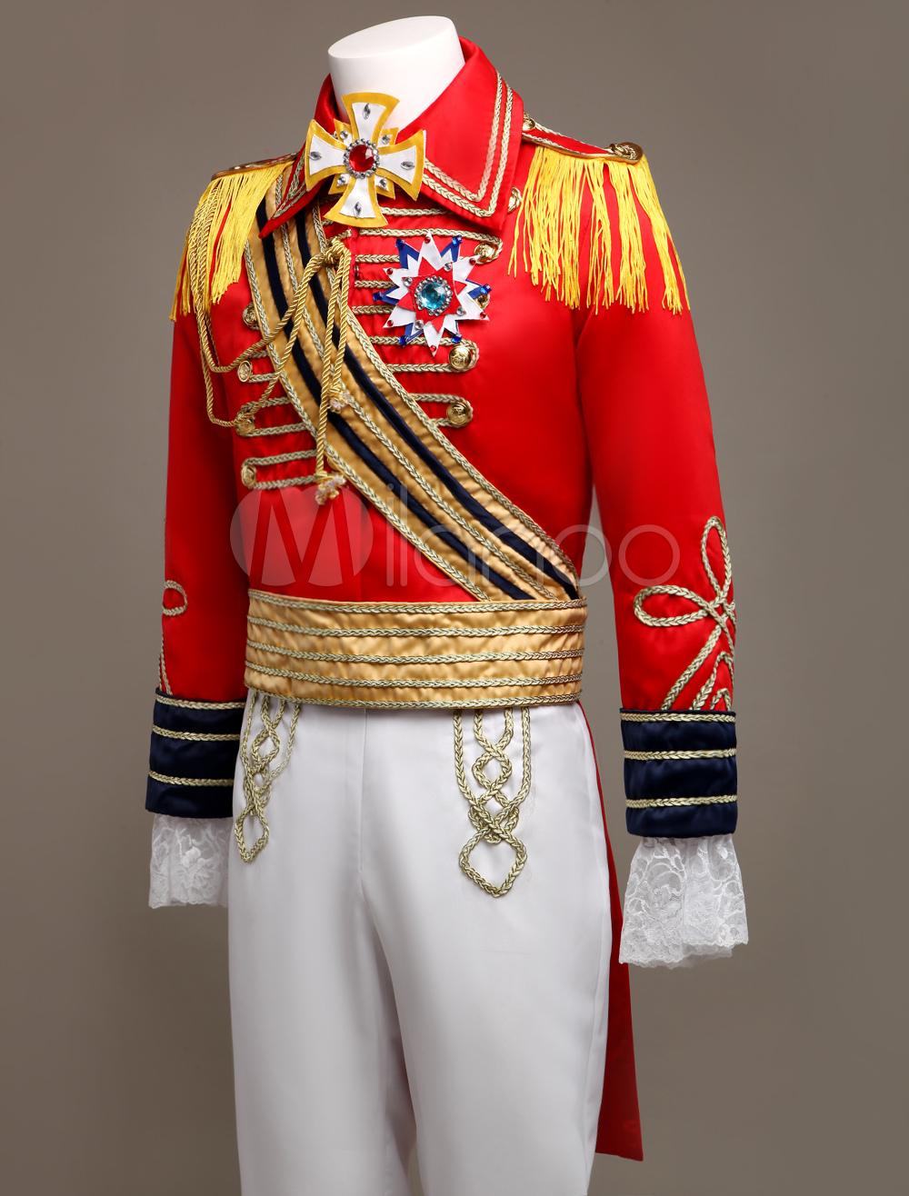 royal retro costume mens red european vintage prince