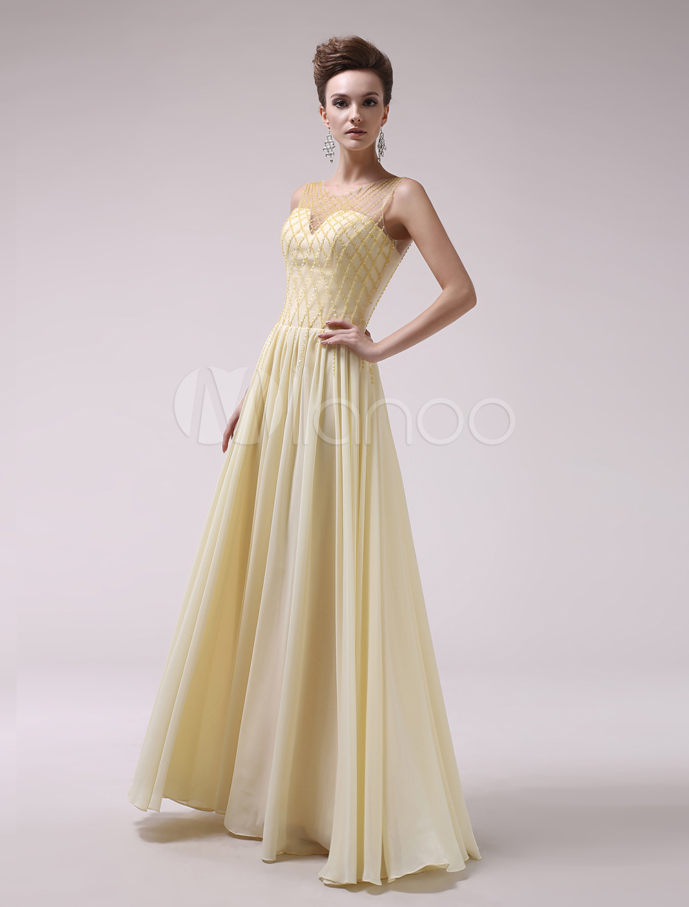 Buy Daffodil Beading Jewel Neck A-line Chiffon Sexy Evening Dress Milanoo for $128.69 in Milanoo store