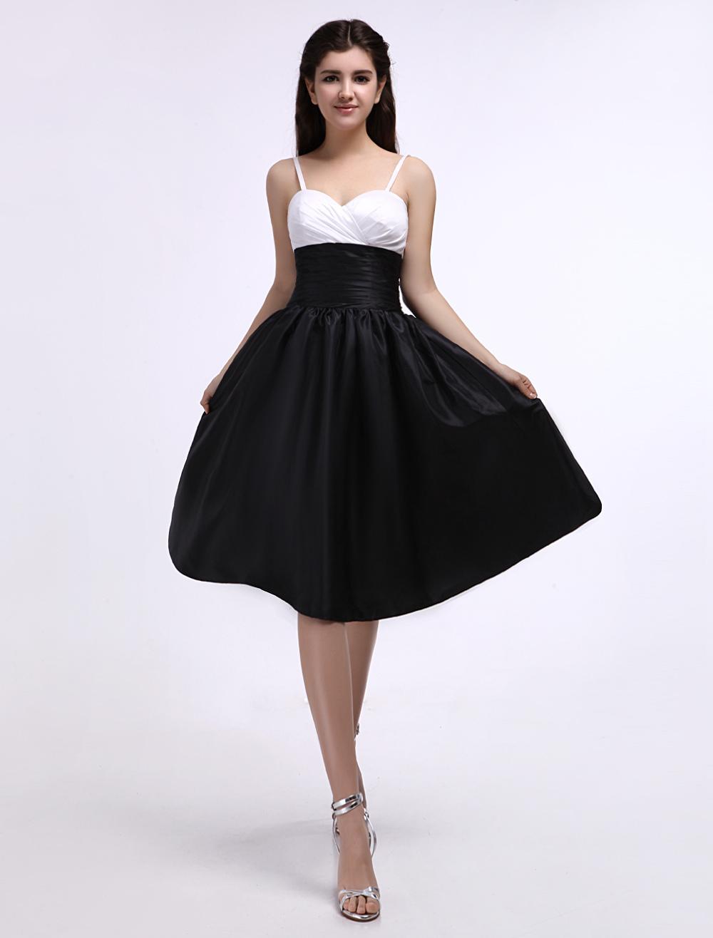 Black And White Taffeta Sweetheart Spaghetti Strap Bridesmaid Dress