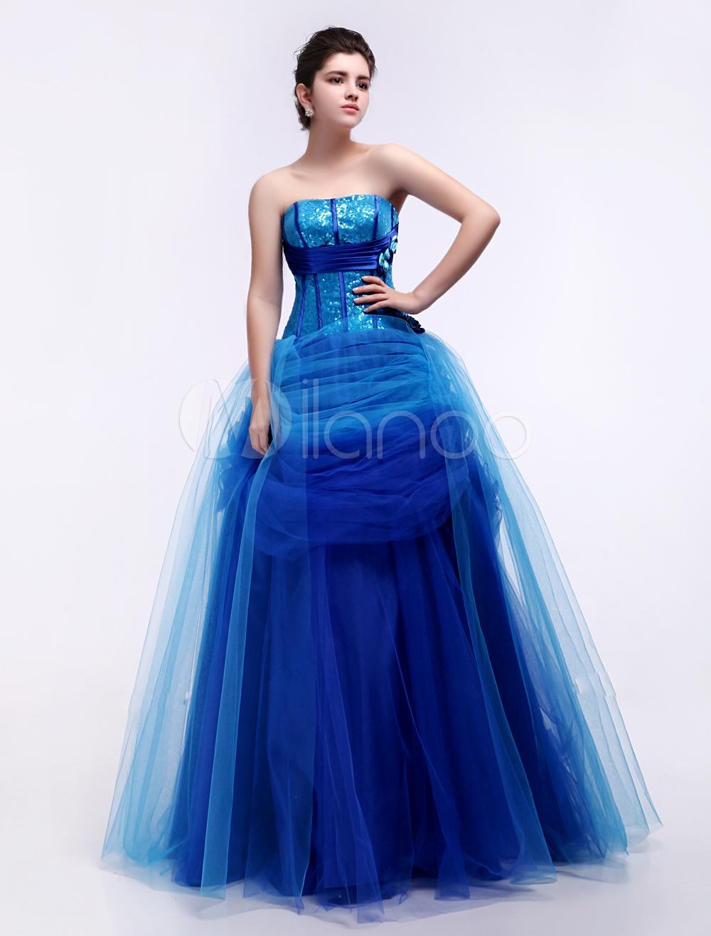 Blue Ball Gown Sweetheart Neck Quinceanera Dress