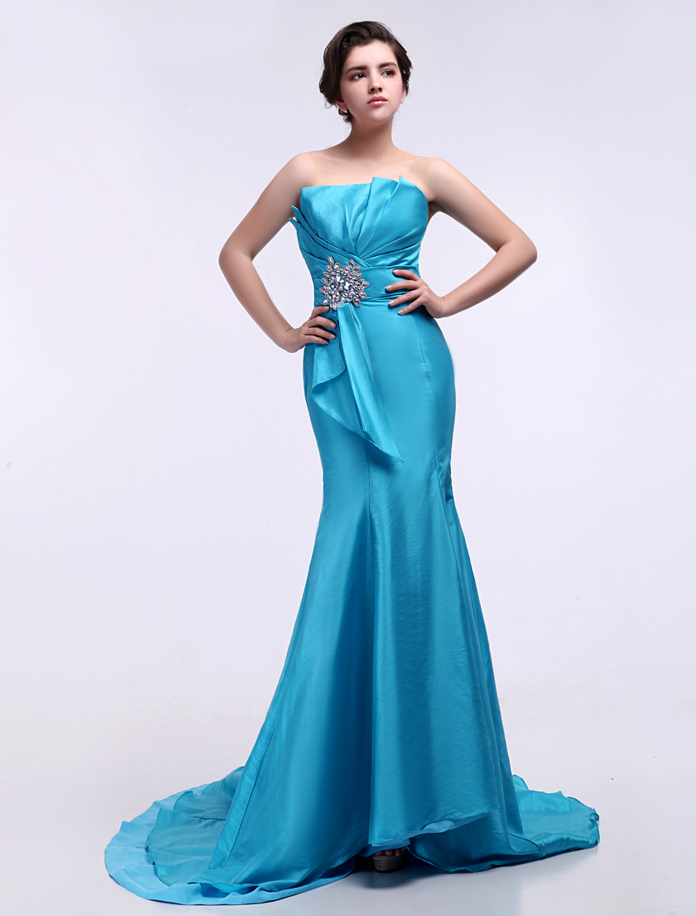 Mermaid Evening Dress Teal Strapless Rhinestone Party Dress With Court Train
