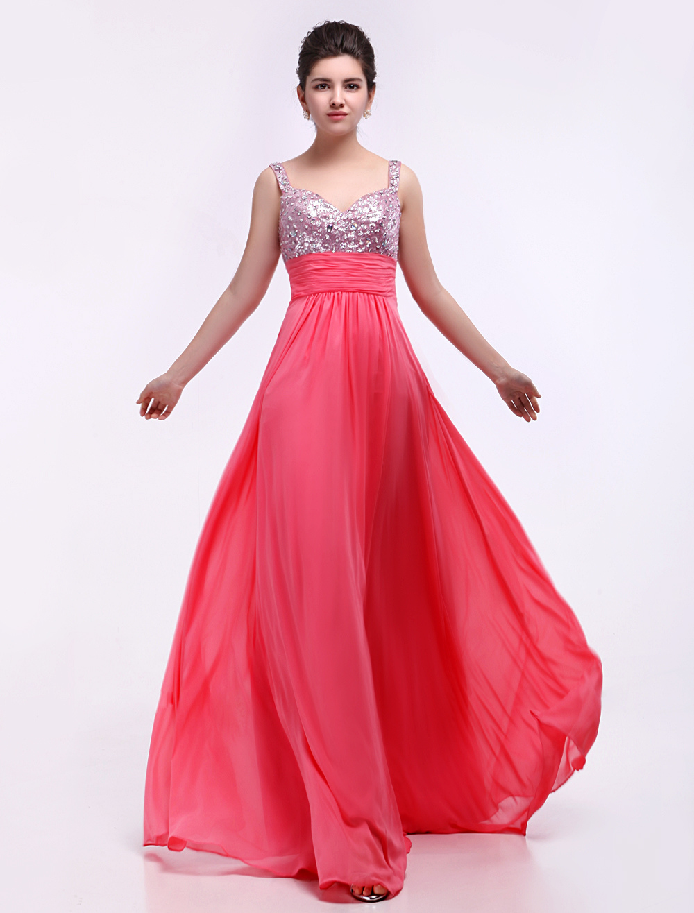 Candy Pink Sequnied Chiffon Prom Dress With Sweetheart Neck