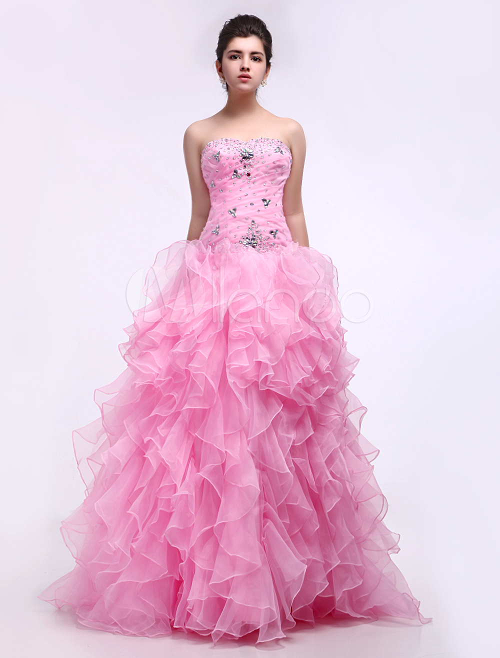 Elegant Pink Satin Organza Sweetheart Women's Ball Gown