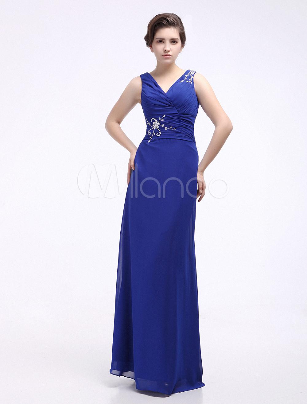 Elegant Royal Blue Chiffon Beading V-Neck Women's Evening Dress
