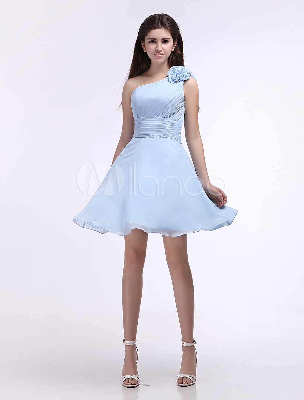 Chiffon Bridesmaid Dress Baby Blue One Shoulder Knee Length Flowers Prom Milanoo