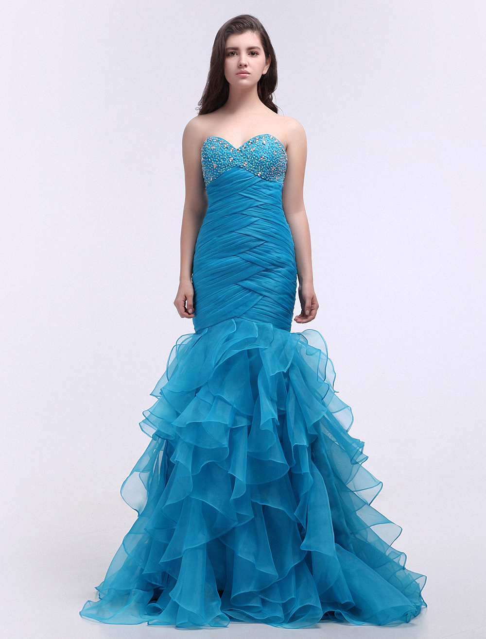 Buy Mermaid Prom Dress Cyan Sweetheart Ruffle Beading Party Dress With Sweep Train for $161.09 in Milanoo store