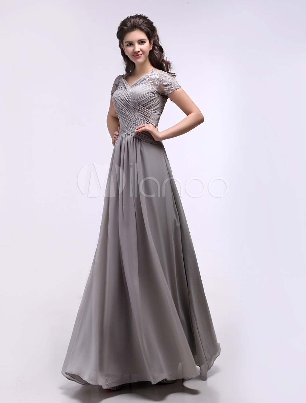 Gray Evening Dress Cut-Out Twist Ruched Floor-Length Lace Prom Dress Wedding Guest Dress