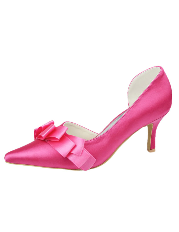 Amazing Bow Stiletto Heel Pointed Toe Silk And Satin Fashion Woman's Wedding Shoes