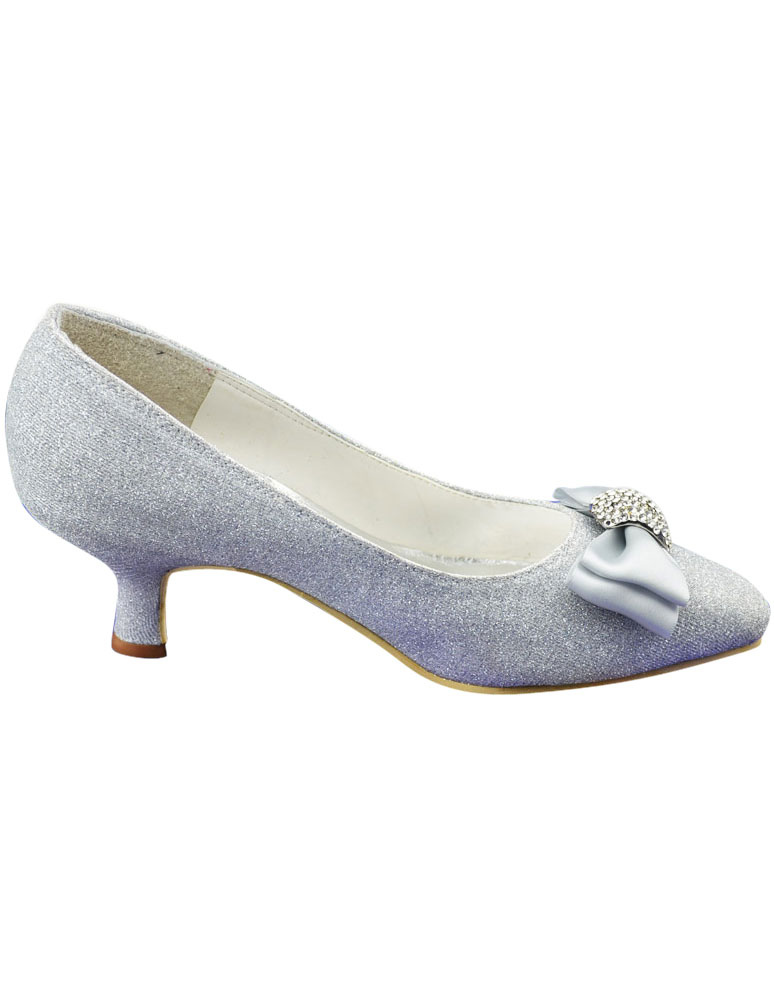 Grace Silver PU Leather Bow Low Heel Bridal Shoes - Milanoo.com