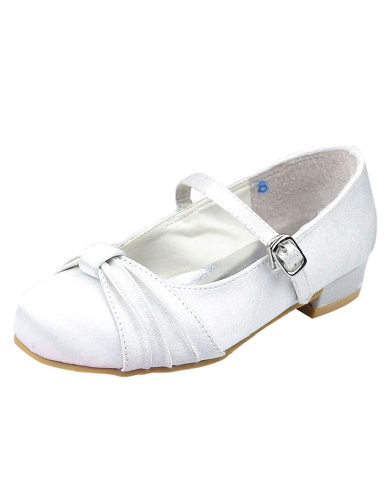 White Satin Face Bow Flat Flower Girl Shoes Milanoo