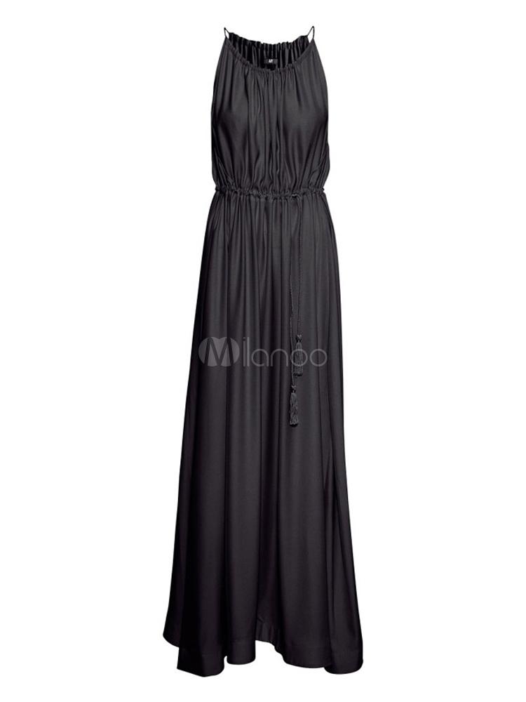 Beautiful Crewneck Sleeveless Woman's Maxi Dress