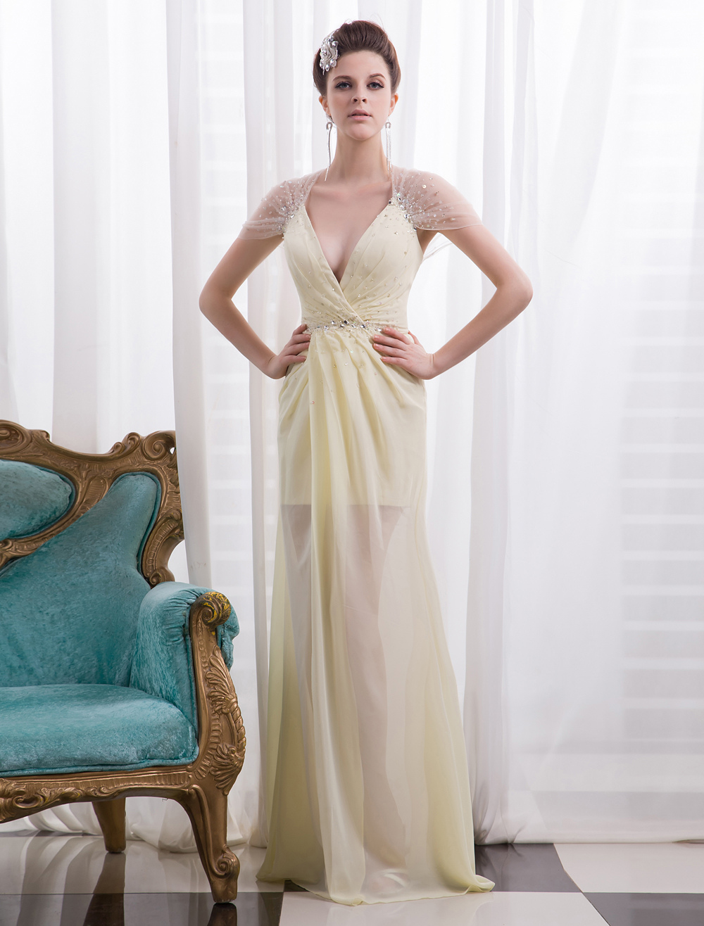Buy Daffodil Pleated Deep Sheath Chiffon Evening Dress with V-Neck Short Sleeves Milanoo for $149.99 in Milanoo store
