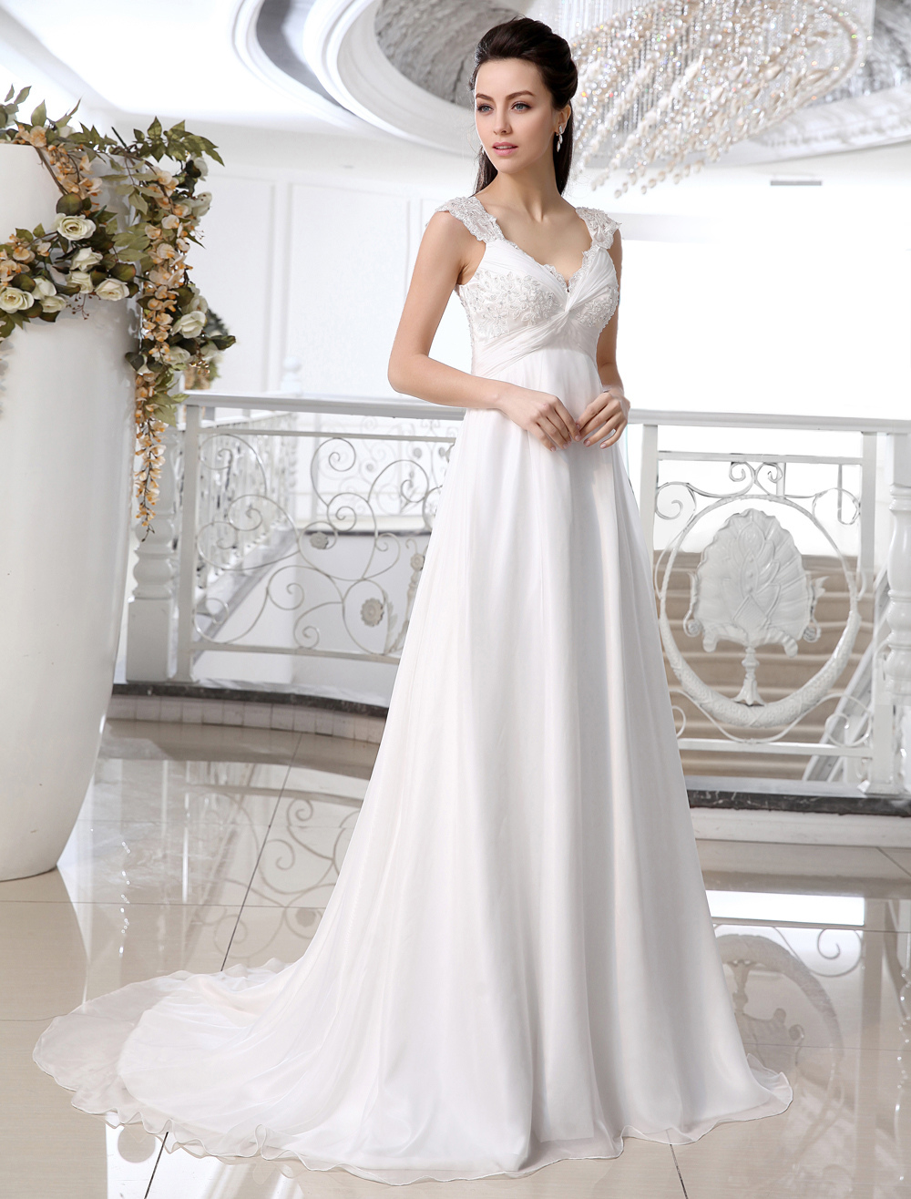 Ivory Chiffon Lace V-neck Empire Waist Wedding Dress