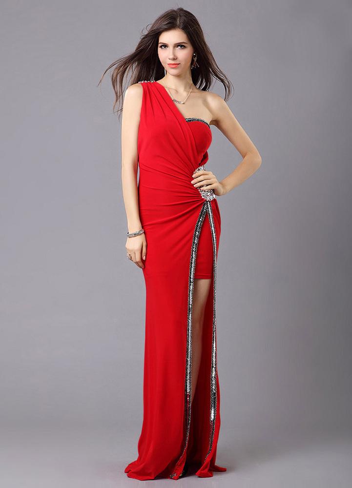 7c5d24940e20 Vestito da sera moderno sexy attillato con spacco frontale e perline in  raso a terra con ...