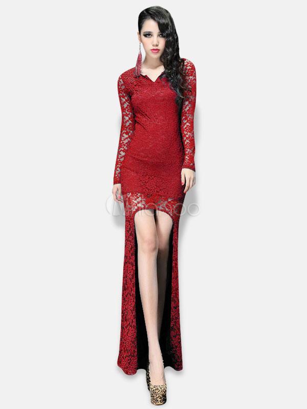 Vestito lungo sexy monocolore con girocollo e maniche lunghe di pizzo per  le feste -No ... bd22646e099