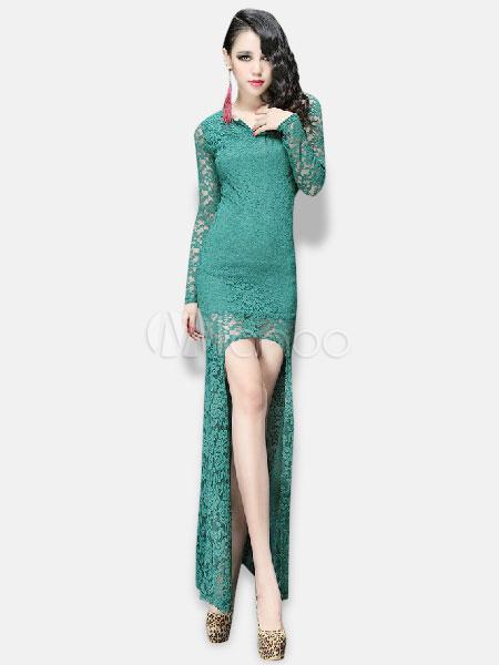 ... Vestito lungo sexy monocolore con girocollo e maniche lunghe di pizzo  per le feste -No ... cc4960b670c