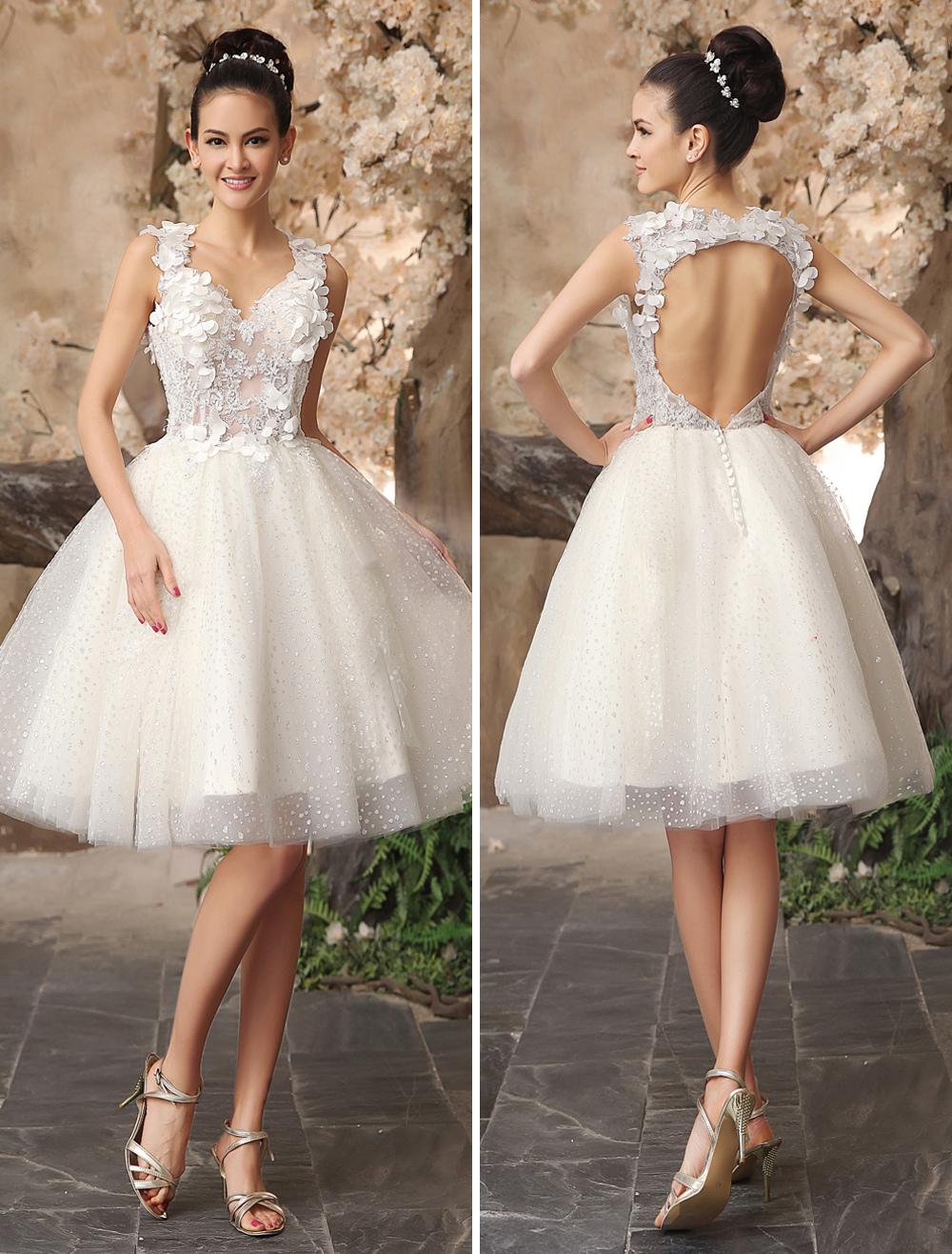 ivory backless lace applique tulle sequins wedding dress milanoo. Black Bedroom Furniture Sets. Home Design Ideas