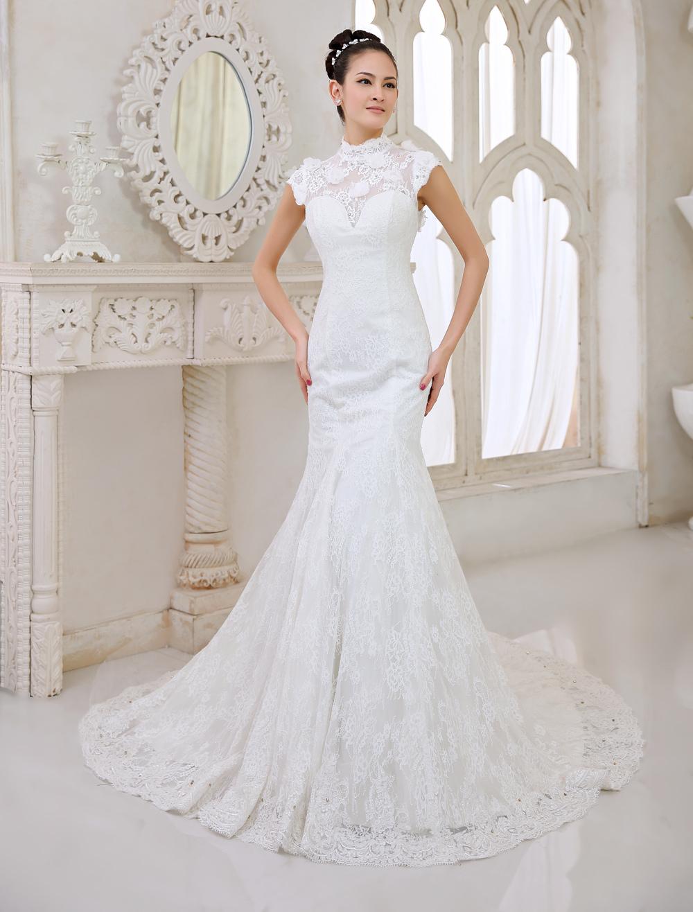 Ivory Mermaid High Collar Flower Chapel Train Wedding Dress For Bride  Milanoo