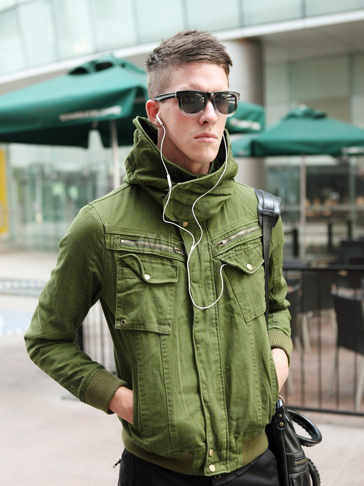 Buy Solid Color Pockets Cotton Cool Mens Hooded Jackets for $22.49 in Milanoo store