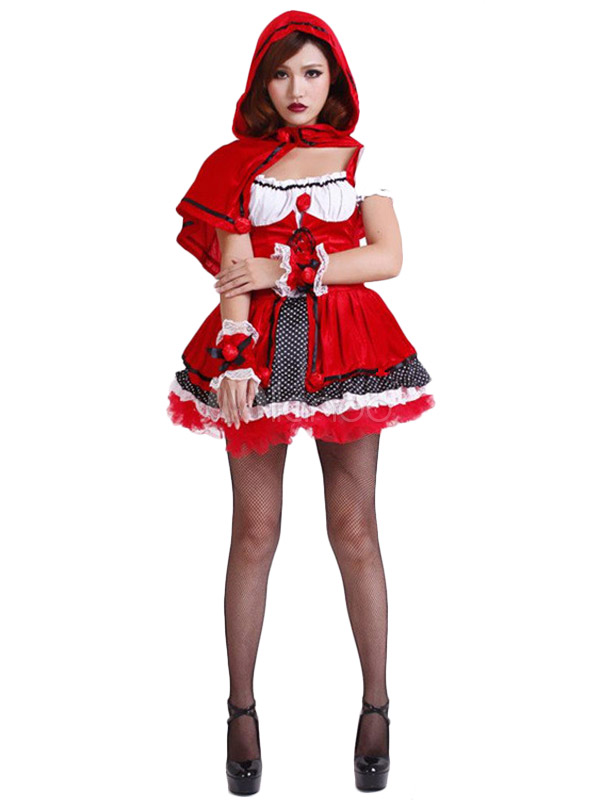 Red Cartoon Characters Lace Up Polyester Sexy Fantasy Costume For Women Halloween