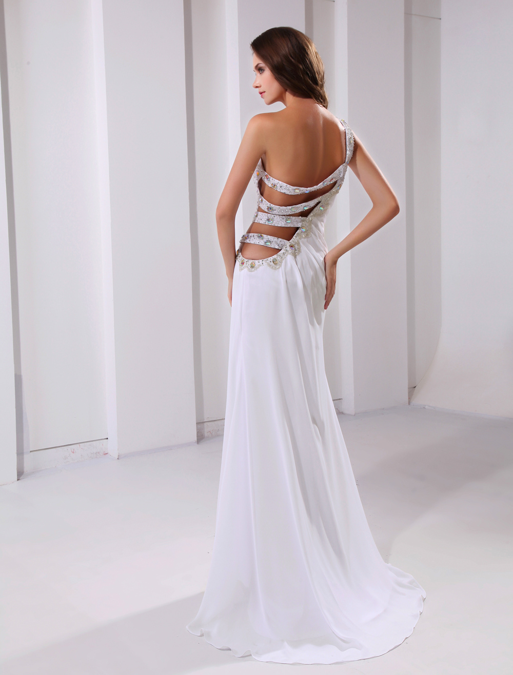 Sexy White Chiffon One-Shoulder Cut Out Sweep Prom Dress