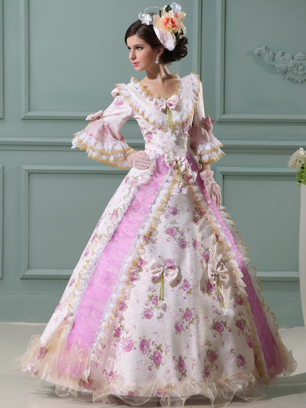 Buy Royal Princess Costume Retro Rococo Ball Gowns Women's Pink Floral Maxi Vintage Costume Dress Halloween for $98.43 in Milanoo store
