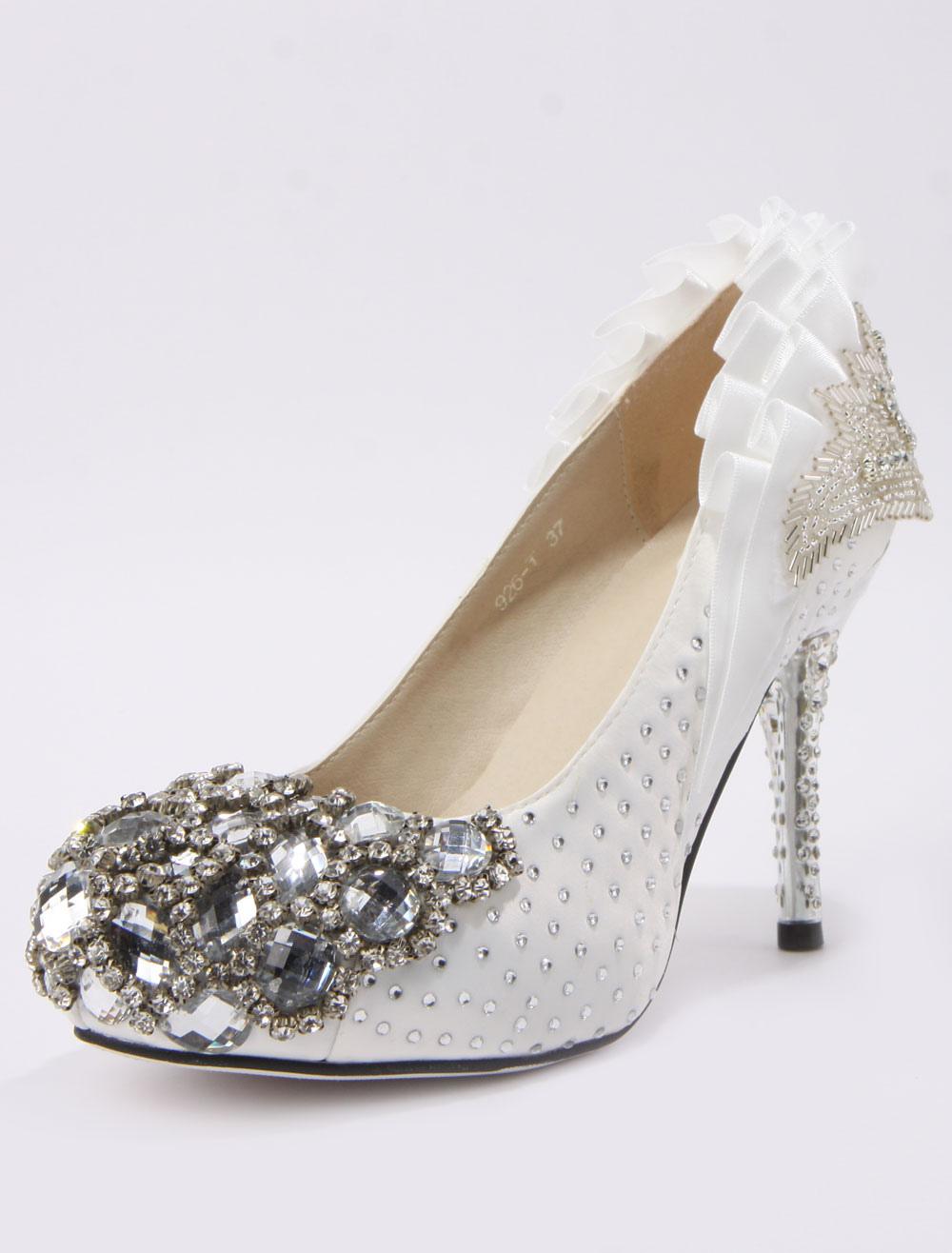 Retro Ruffles Beading Spike Heel Silk And Satin Cute Bridal Shoes No 2