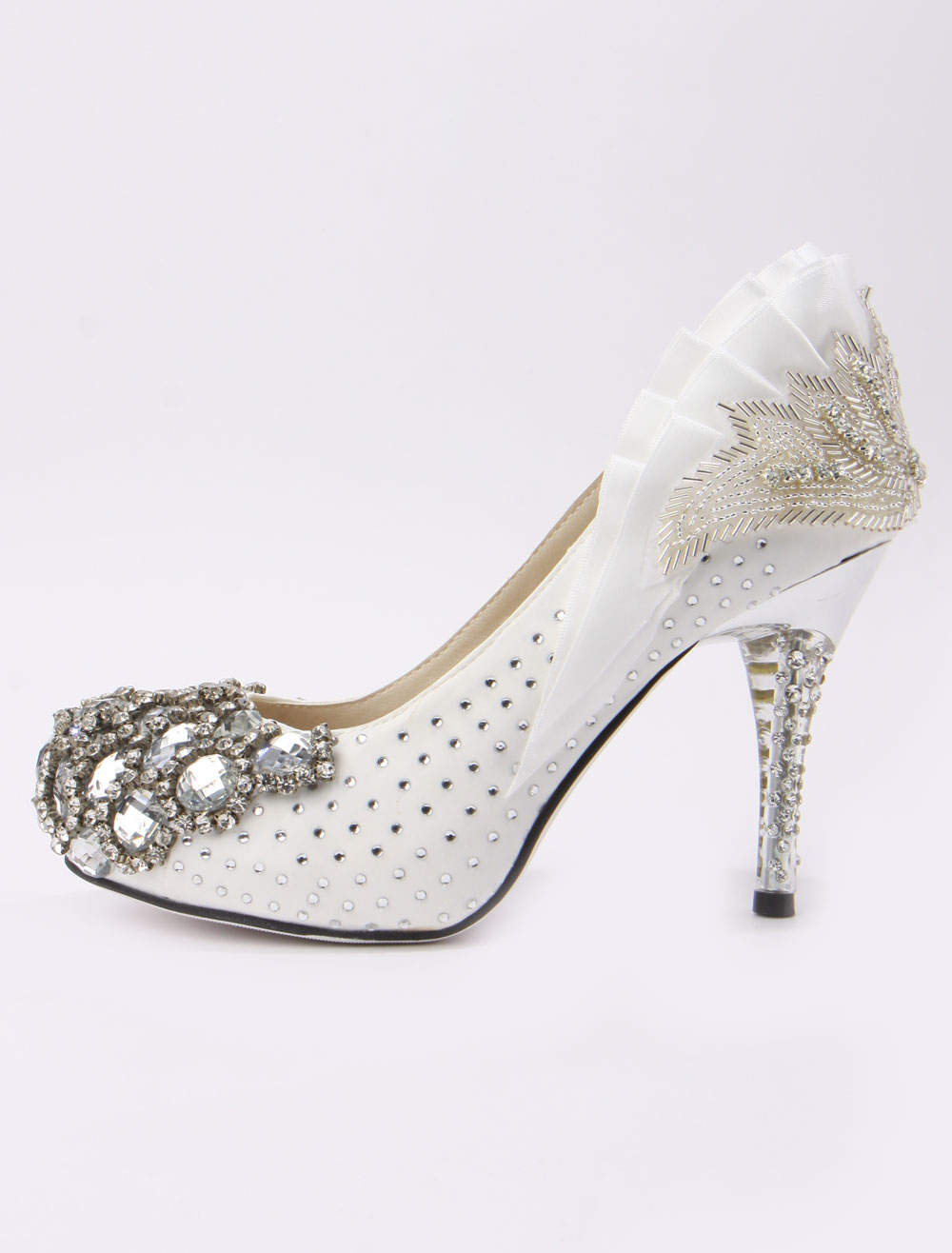 efb9fd8d2f7 ... Retro Ruffles Beading Spike Heel Silk And Satin Cute Bridal Shoes-No.3  ...