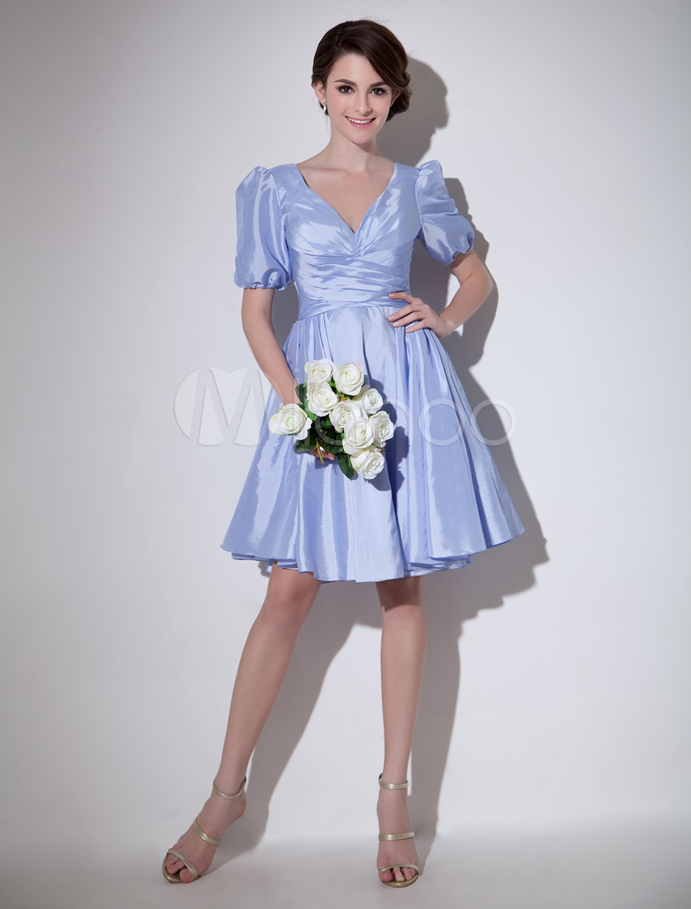 2bd596b2d2c ... Violet Cocktail Dress Taffeta A Line Prom Dress V Neck Short Sleeves  Pleated Party Dress Milanoo. 12. 32%OFF. Color Violet