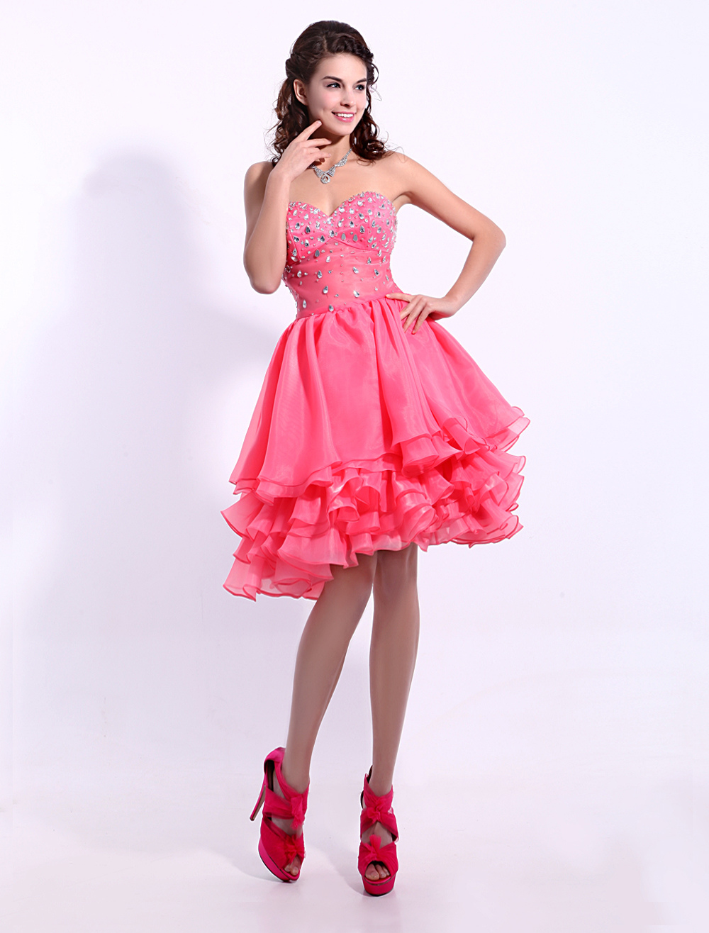 4041fcde817 Candy Pink Sweetheart Homecoming Dress with Tiered Skirt - Milanoo.com