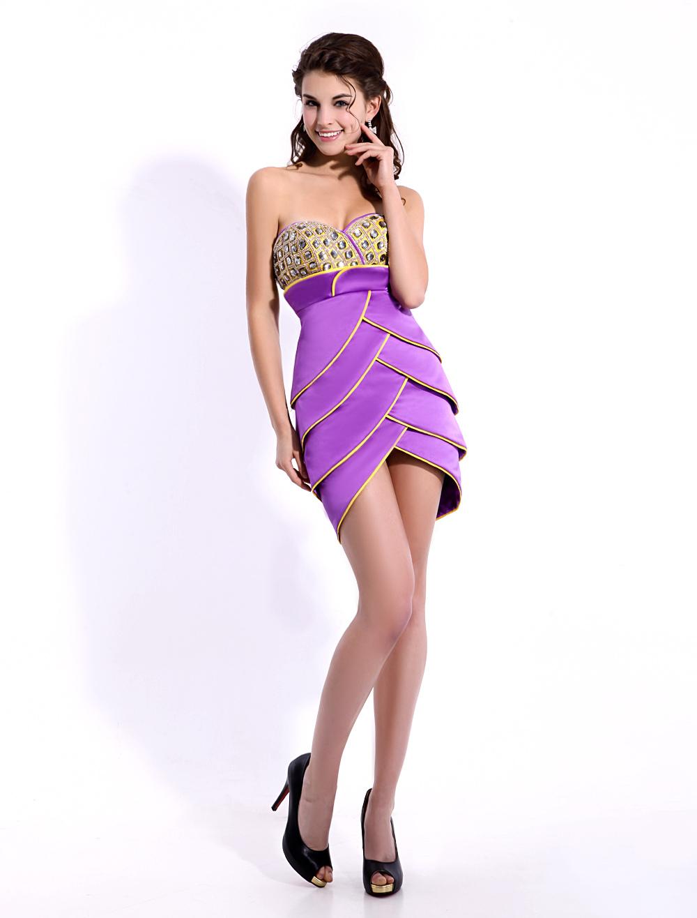 Fashion Lilac Short Sheath Beading Cocktail Dress with Sweetheart Neck Satin  Milanoo
