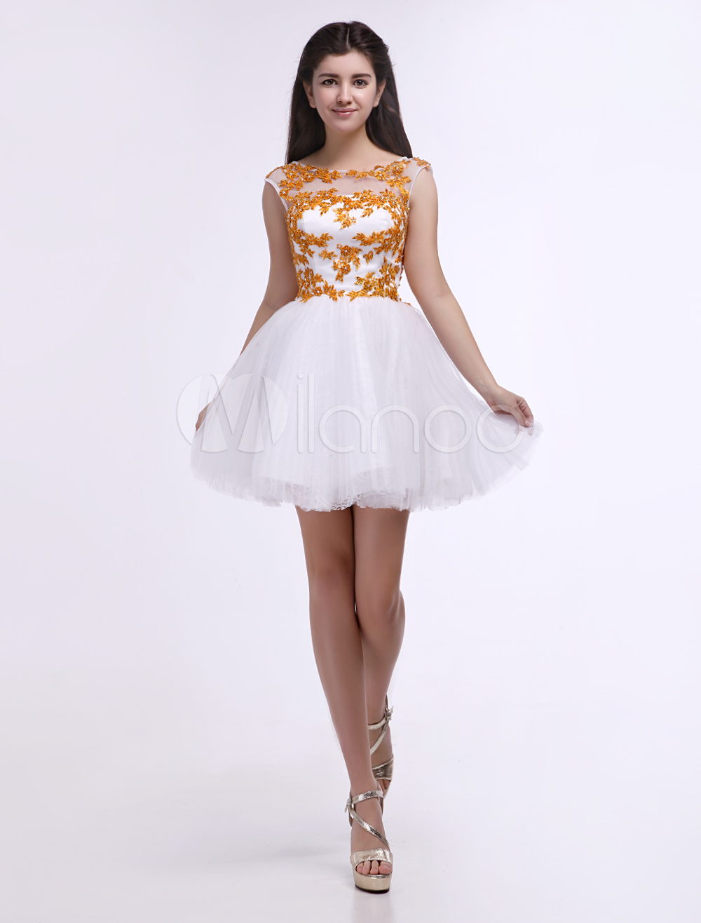 Fashion White Jewel Neck Applique A-line Tulle Short Prom Dress