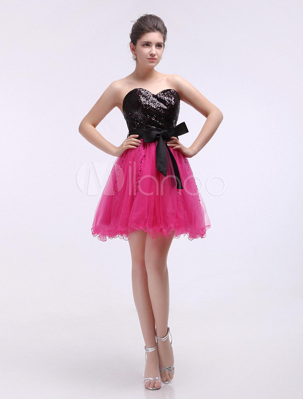 Buy Tulle Cocktail Dress Sequin Sweetheart Prom Dress Hot Pink Strapless Sleeveless A Line Short Party Dress With Bow Sash for $119.99 in Milanoo store