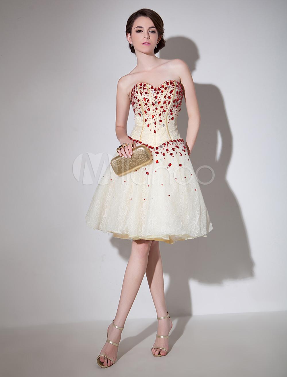 Glamour Ivory Sweetheart Neck Rhinestone A-line Lace Prom Dress Milanoo
