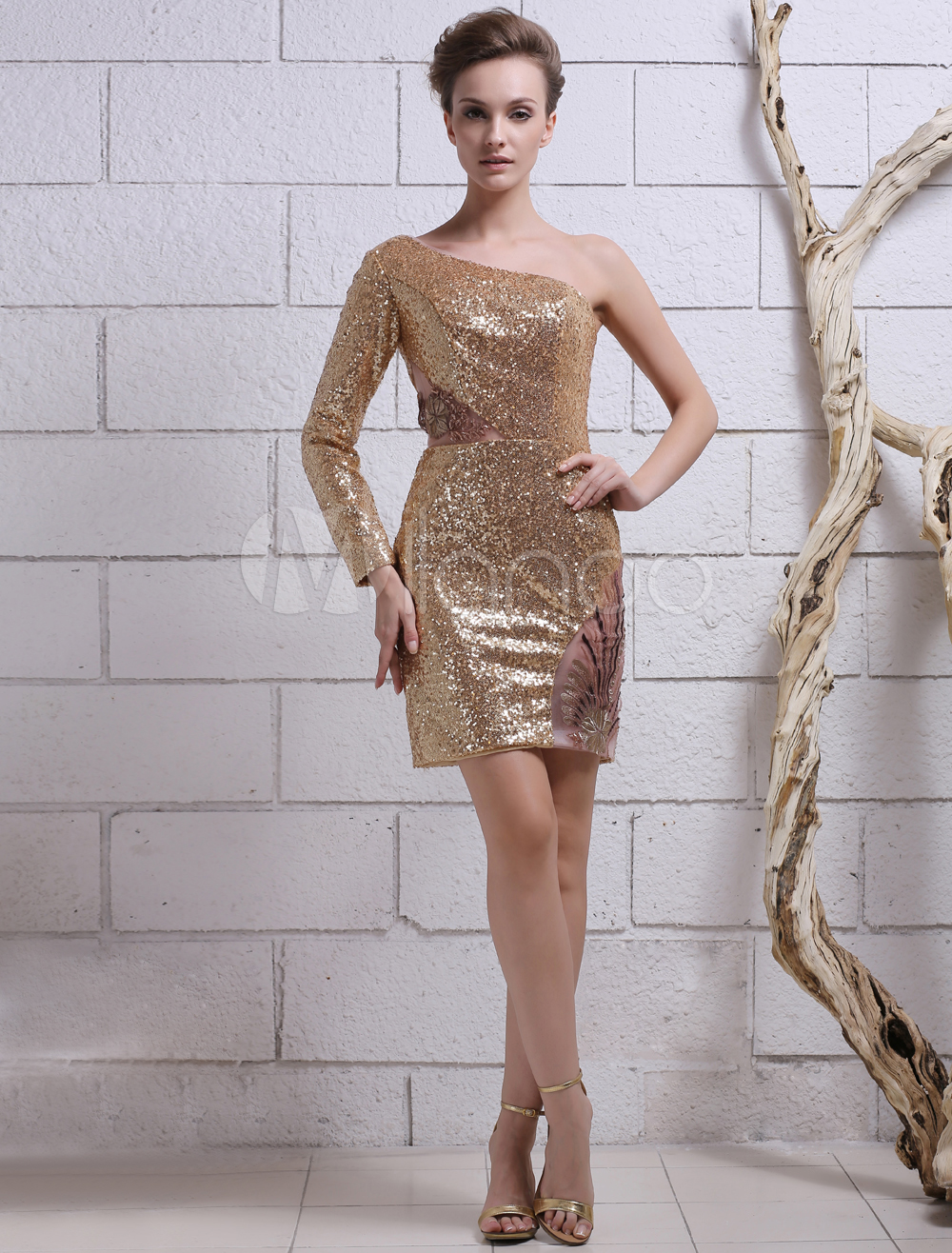 48897797f5 Gold Sequin Cocktail Dress With Sleeves - Gomes Weine AG
