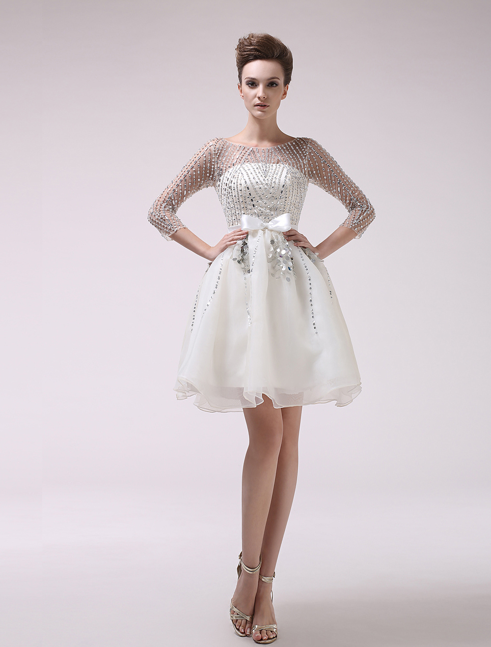 Ivory Prom Dress Sequins Sash Bow Semi-Sheer Organza Dress Milanoo