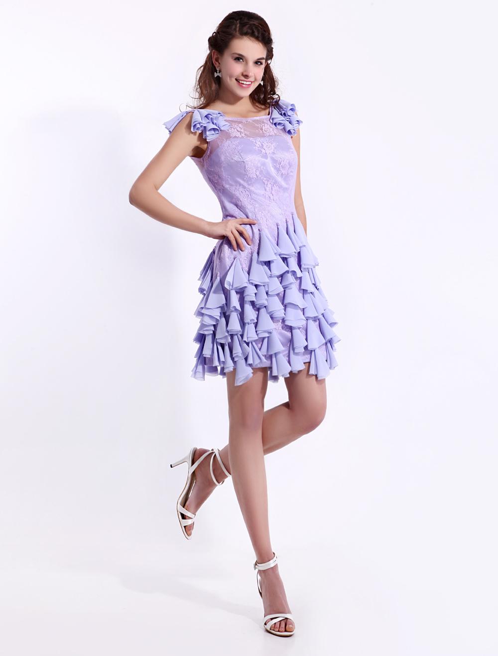 Lavender Sheath Lace Scoop Neck Fashion Cocktail Dress Milanoo ...