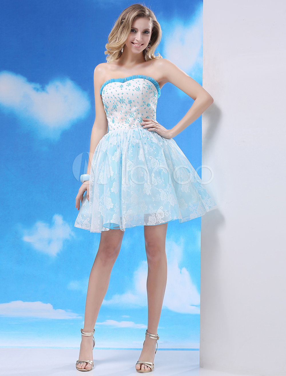 Buy Lace Prom Dress Aqua A Line Cocktail Dress Strapless Sweetheart Beaded Short Party Dress Milanoo for $112.49 in Milanoo store