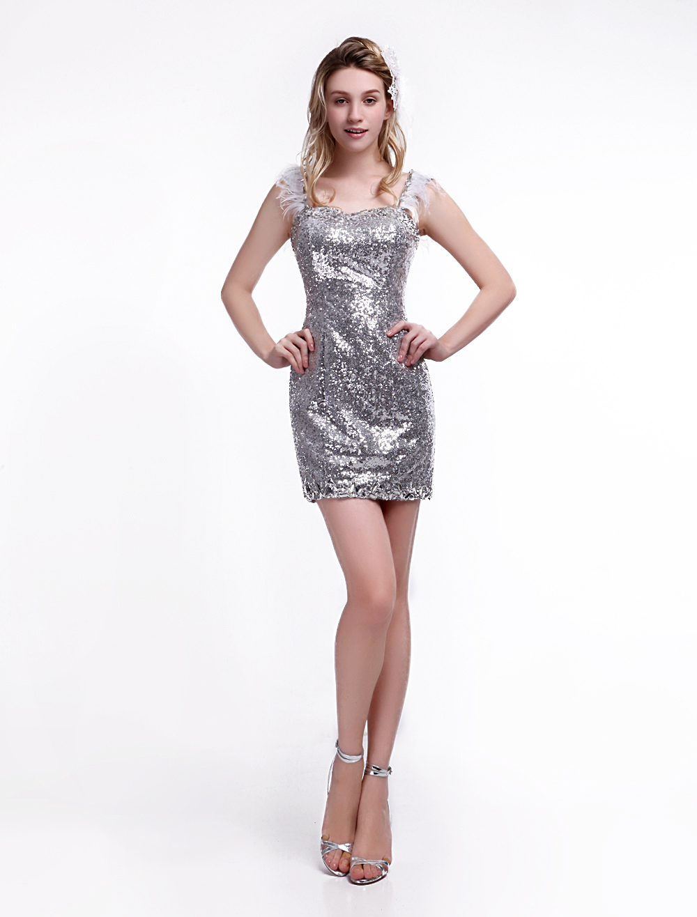 f6d20e0346 Vestido de fiesta con lentejuelas plateadas y escote de corazón Milanoo -  Milanoo.com