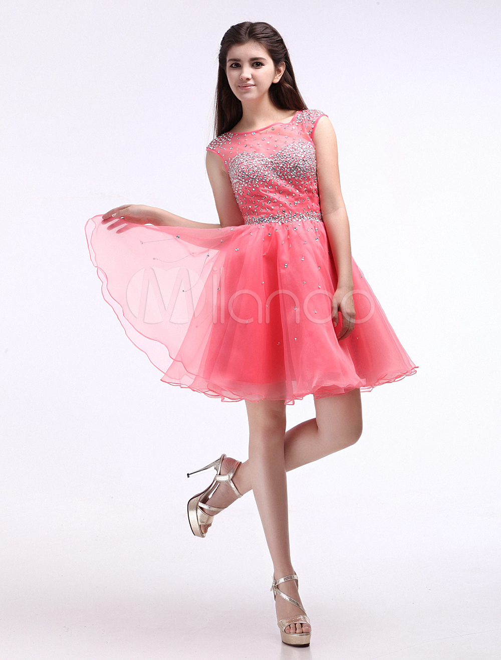 Vestido de fiesta de organza de color sandía con escote redondo ...