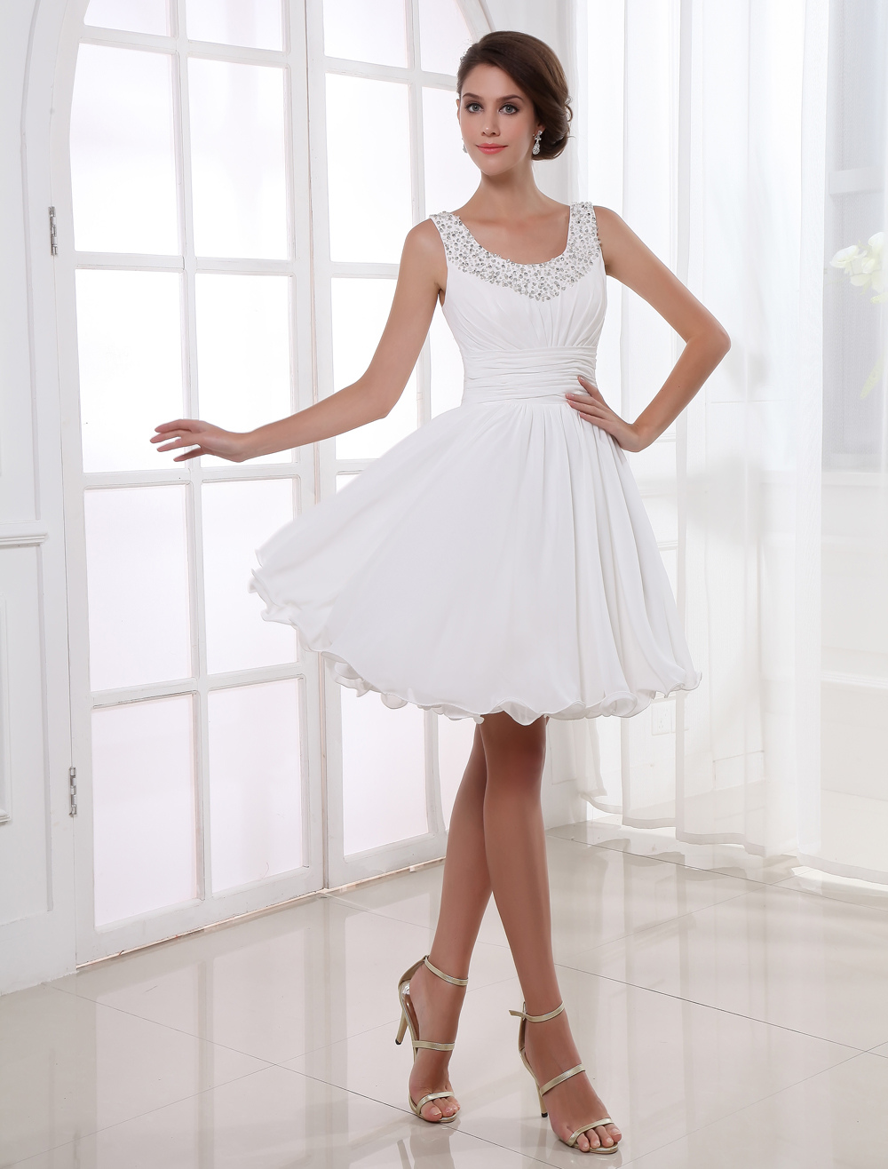 Ruched Beading Graduation Dress