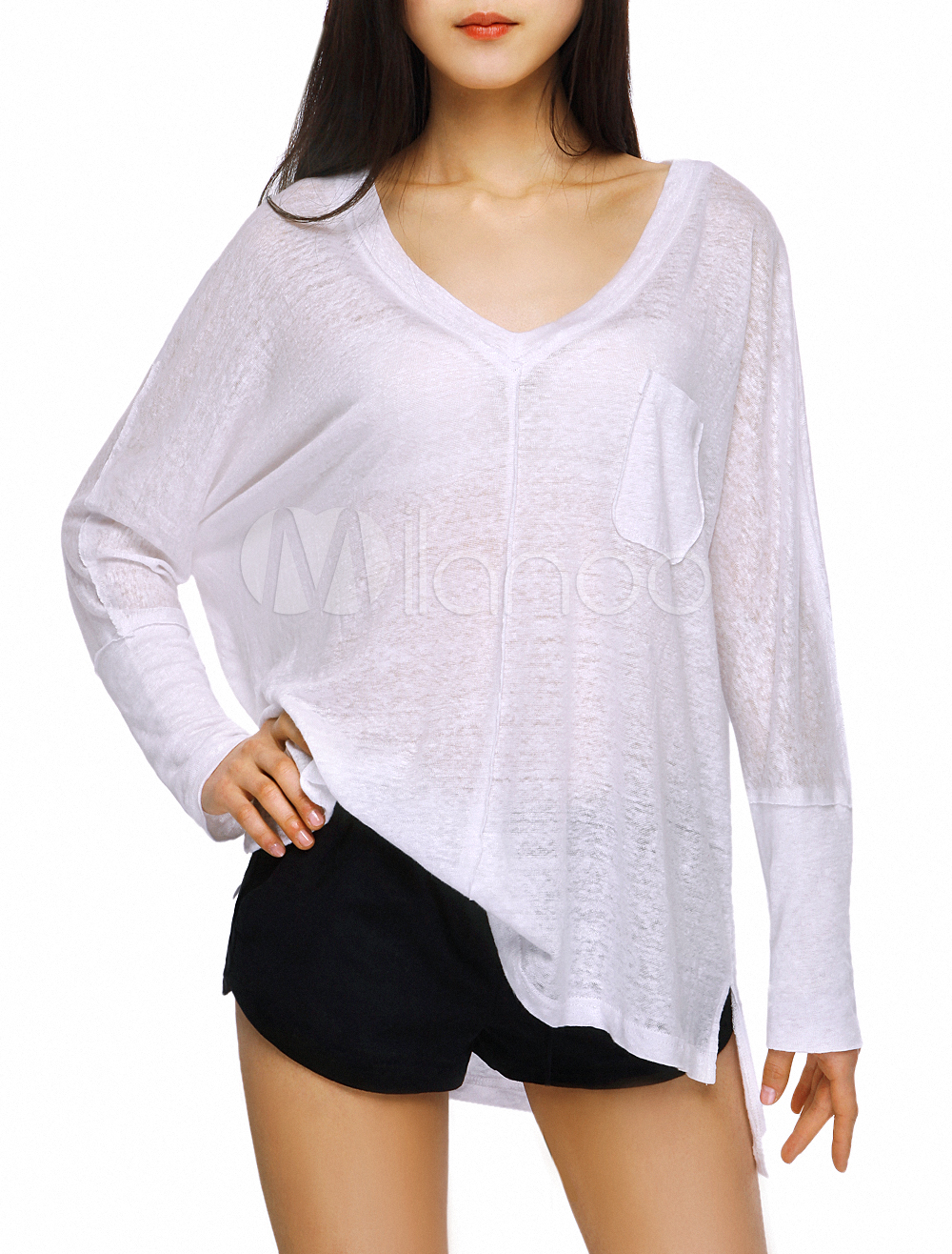 8b8f94bc82 White Linen Solid Color High Low Design Long Sleeves V-Neck T-shirt For  Women - Milanoo.com