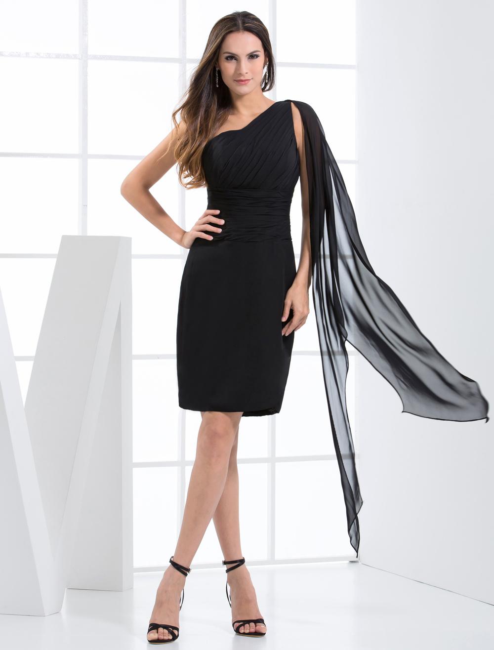 Black One-Shoulder Chiffon Cocktail Dress  Wedding Guest Dress