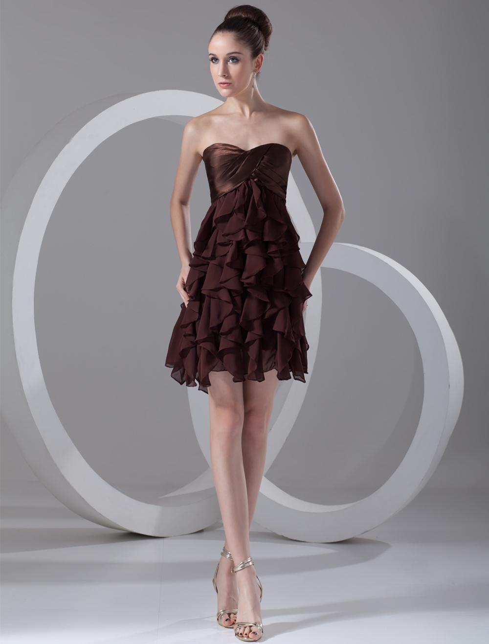 Chocolate A-line Pretty Ruffles Chiffon Short Cocktail Dress with ...