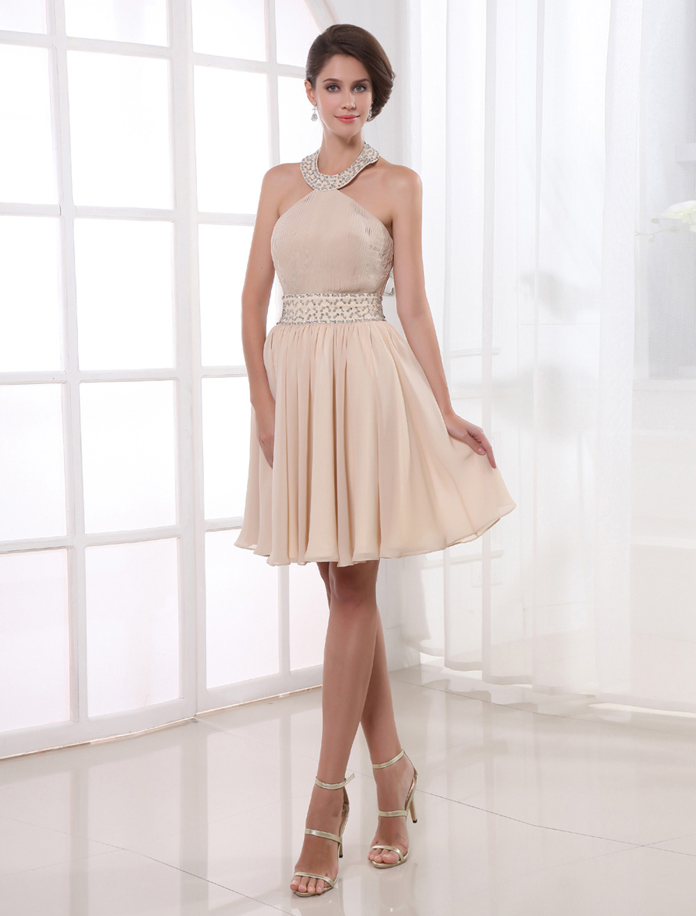 372052309ed9de Halter Pleated Chiffon Cocktail Dress - Milanoo.com