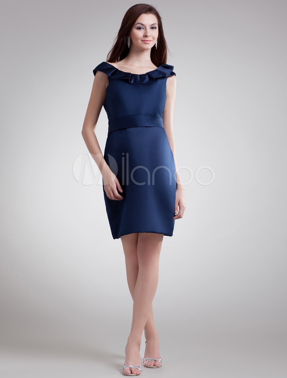 Navy satin cocktail dress