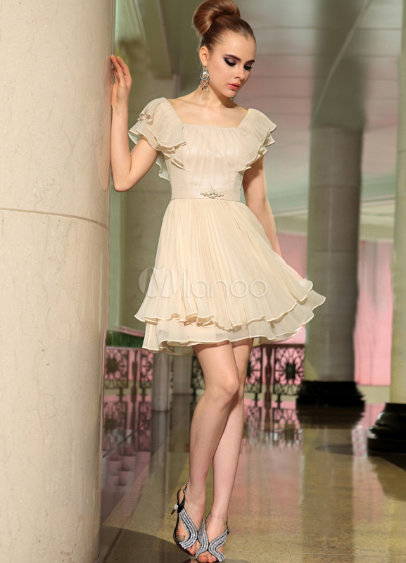 Gorgeous Nude A-line Square Neck Ruffles Polyester Cocktail Dress ...
