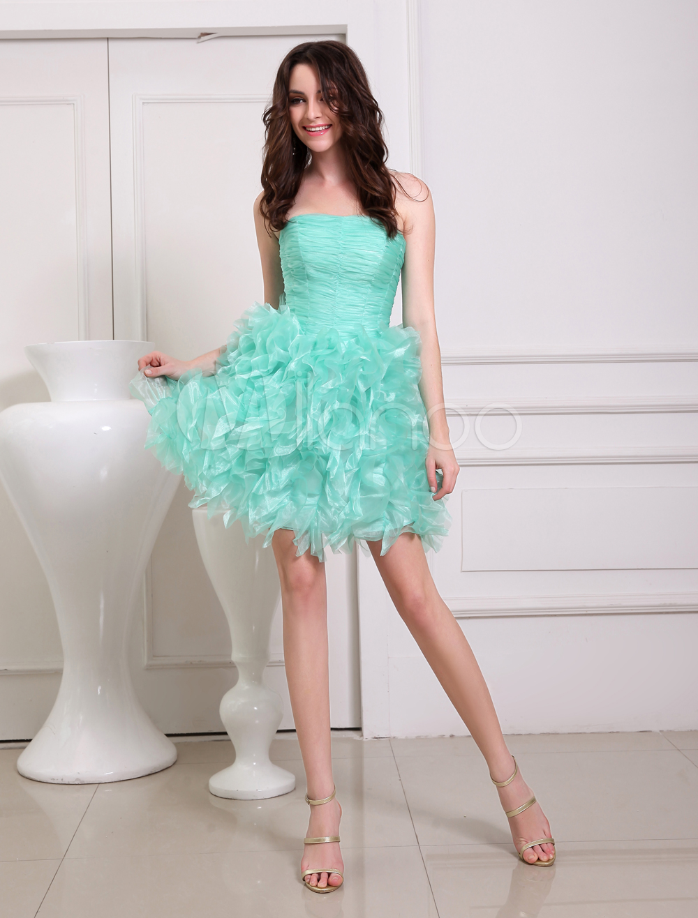 Green A-line Ruffles Tulle Gorgeous Prom Dress
