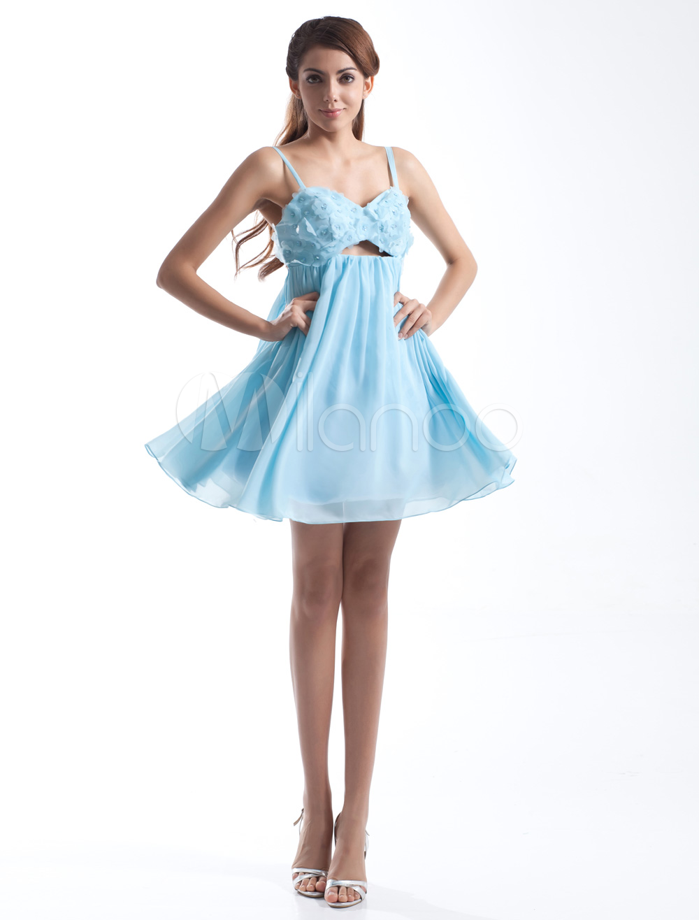 Chiffon Cocktail Dress Aqua A Line Party Dress Beading Spaghetti ...